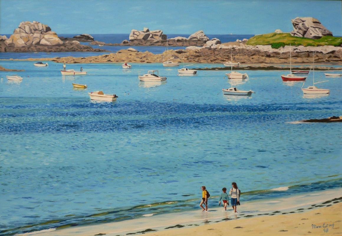 Promenade sur la plage à Santec